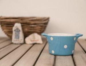 Komplet dveh retro mini keramičnih pekačkov Isabelle Rose za muffine ali soufflé – moder