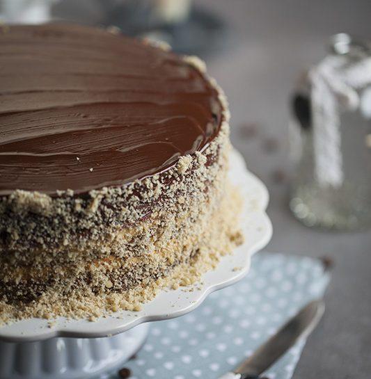 Kavna cimetovo orehova torta oblita s čokolado