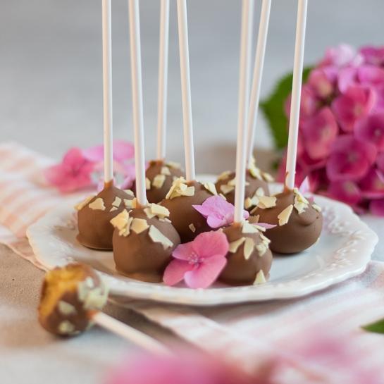 Cake popsi z marelično marmelado in lešnikovim čokoladnim oblivom