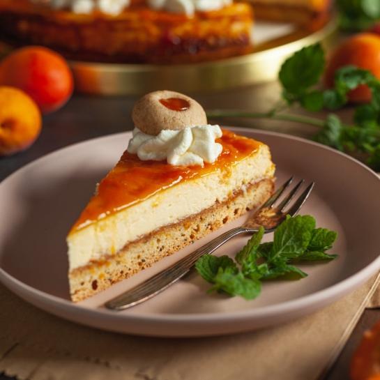 Marelična chia cheseecake pita s skuto in medeno marelično marmelado