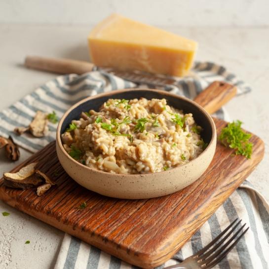 Kremna rižota z jurčki in mascarpone sirom